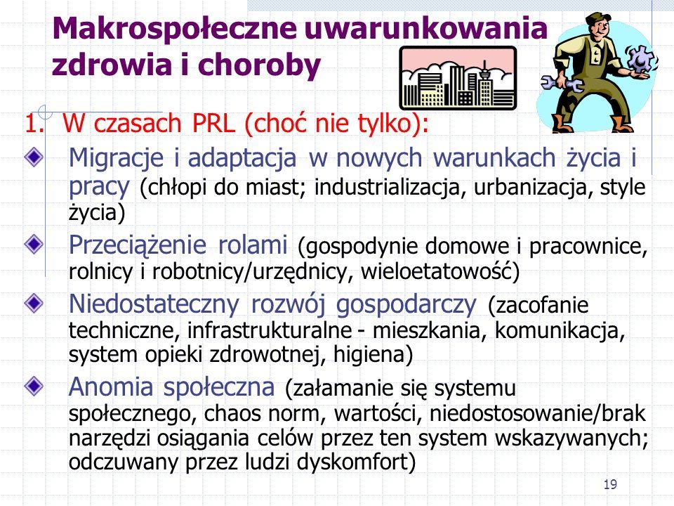 19 Makrospołeczne uwarunkowania zdrowia i choroby 1. W czasach PRL (choć nie tylko): Migracje i adaptacja w nowych warunkach życia i pracy (chłopi do