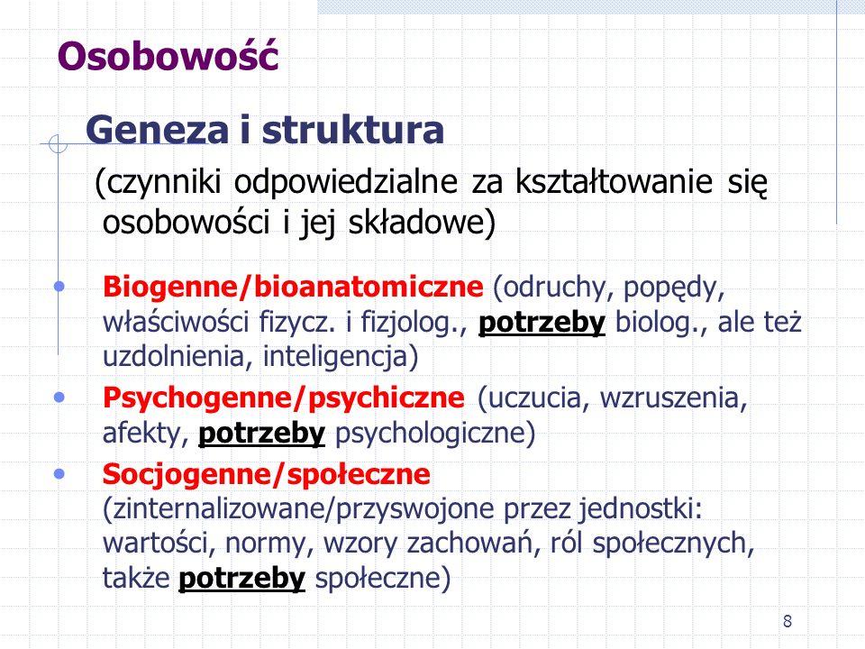 8 Osobowość Geneza i struktura (czynniki odpowiedzialne za kształtowanie się osobowości i jej składowe) Biogenne/bioanatomiczne (odruchy, popędy, właś