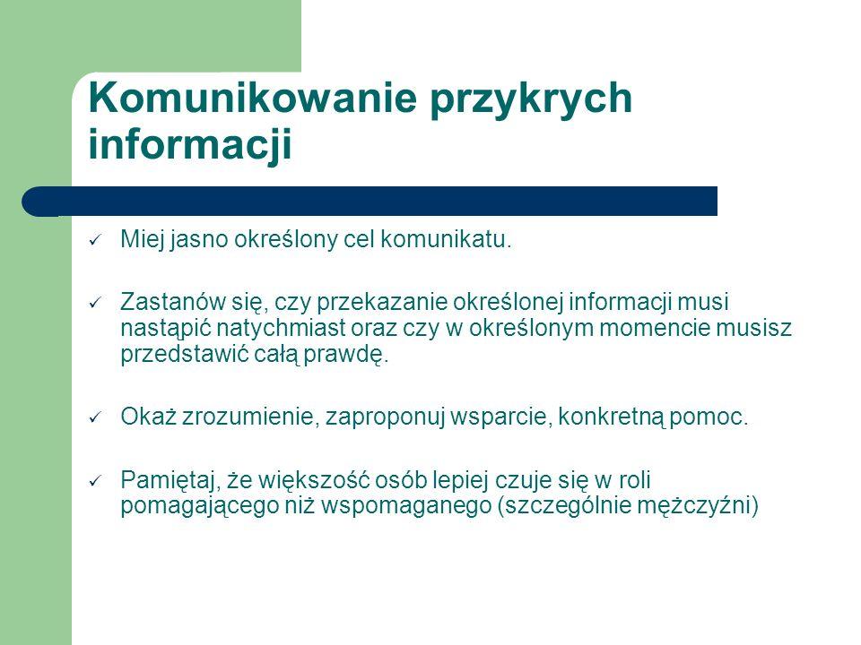Komunikowanie przykrych informacji Miej jasno określony cel komunikatu. Zastanów się, czy przekazanie określonej informacji musi nastąpić natychmiast