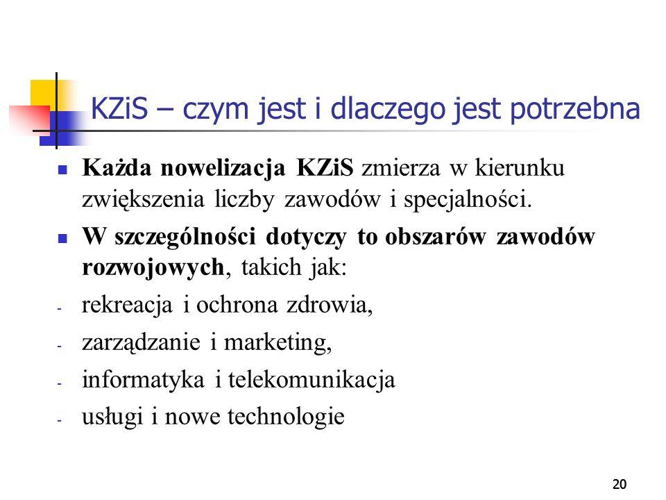 20 KZiS – czym jest i dlaczego jest potrzebna Każda nowelizacja KZiS zmierza w kierunku zwiększenia liczby zawodów i specjalności. W szczególności dot