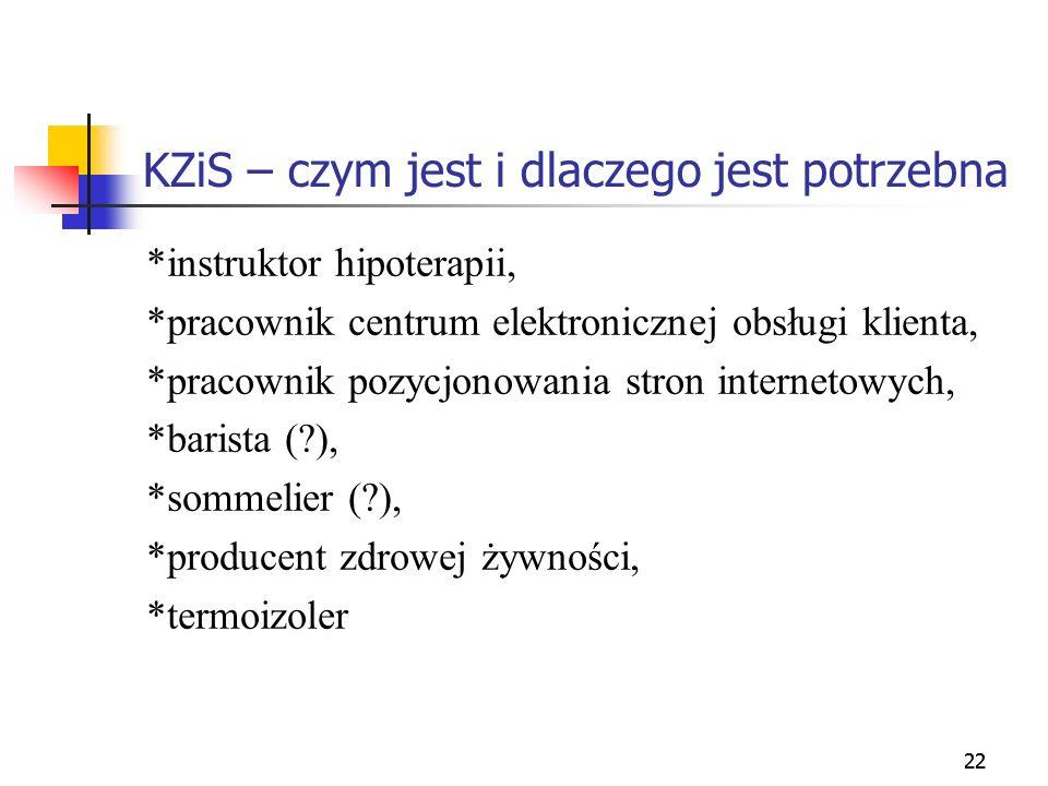 22 KZiS – czym jest i dlaczego jest potrzebna *instruktor hipoterapii, *pracownik centrum elektronicznej obsługi klienta, *pracownik pozycjonowania st