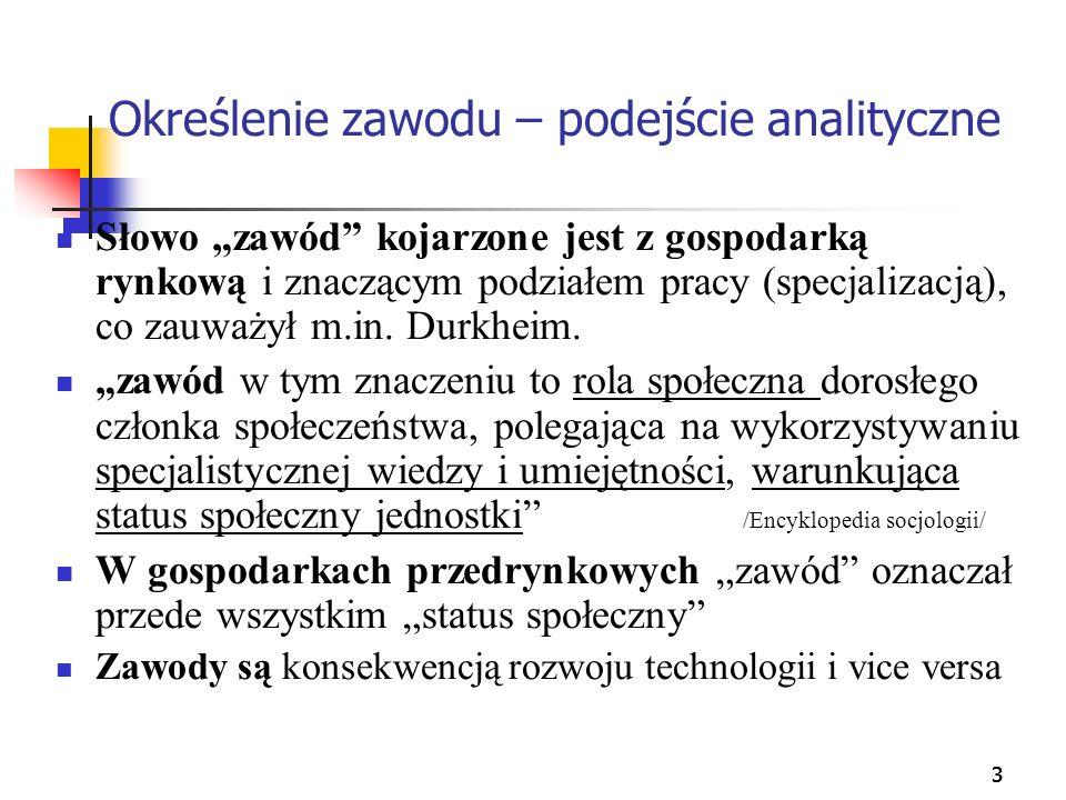 333 Określenie zawodu – podejście analityczne Słowo zawód kojarzone jest z gospodarką rynkową i znaczącym podziałem pracy (specjalizacją), co zauważył