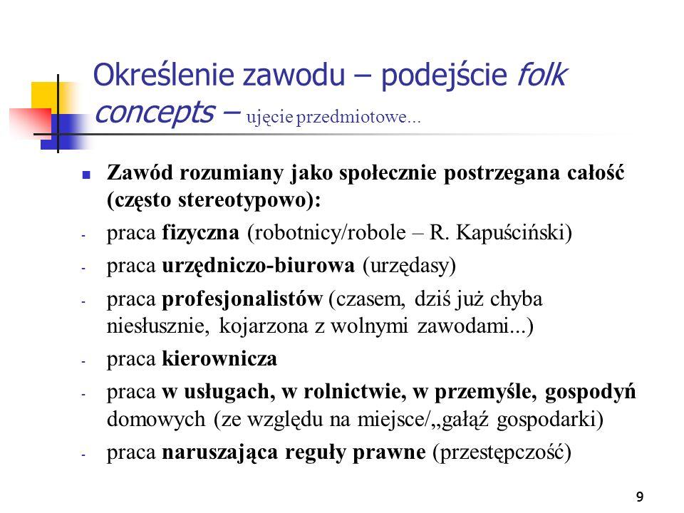 30 Prestiż zawodu Wg Jacka Wasilewskiego, w skład oceny prestiżu zawodowego wchodzą takie elementy, jak: 1.