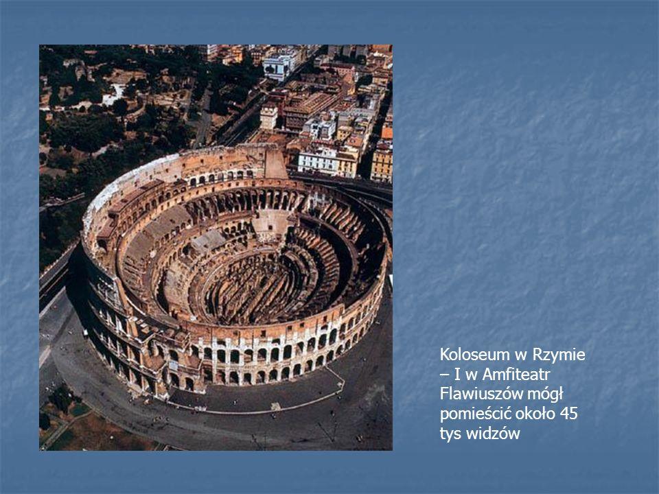 Koloseum w Rzymie – I w Amfiteatr Flawiuszów mógł pomieścić około 45 tys widzów