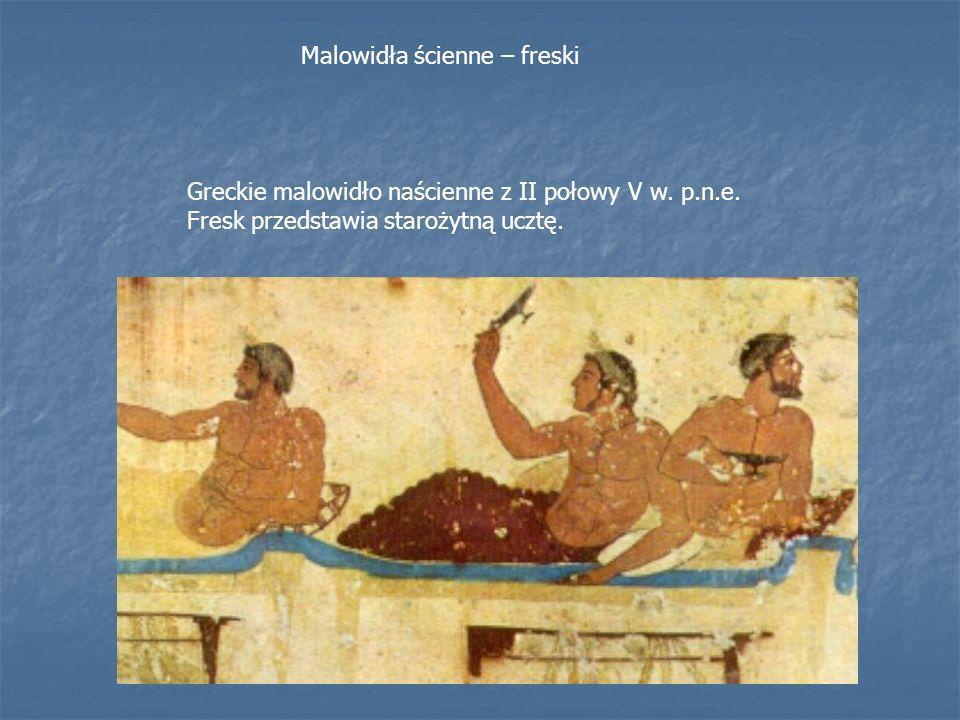 Greckie malowidło naścienne z II połowy V w. p.n.e. Fresk przedstawia starożytną ucztę. Malowidła ścienne – freski