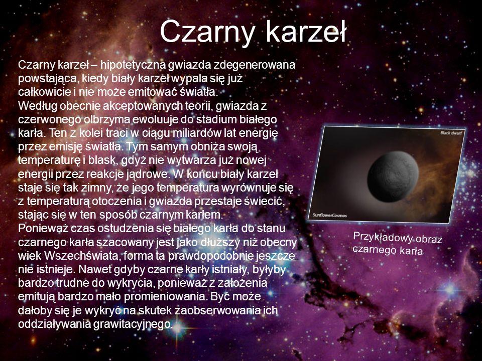 Czarny karzeł Czarny karzeł – hipotetyczna gwiazda zdegenerowana powstająca, kiedy biały karzeł wypala się już całkowicie i nie może emitować światła.