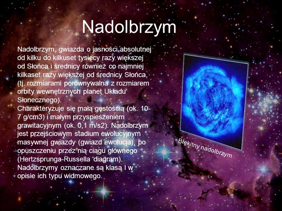 Nadolbrzym Nadolbrzym, gwiazda o jasności absolutnej od kilku do kilkuset tysięcy razy większej od Słońca i średnicy również co najmniej kilkaset razy