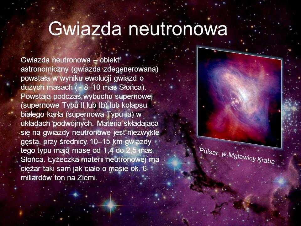 Gwiazda neutronowa Gwiazda neutronowa – obiekt astronomiczny (gwiazda zdegenerowana) powstała w wyniku ewolucji gwiazd o dużych masach (~ 8–10 mas Sło