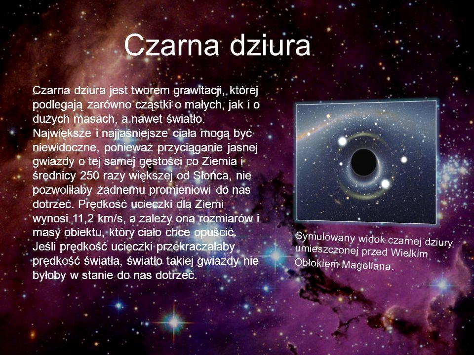 Czarna dziura Czarna dziura jest tworem grawitacji, której podlegają zarówno cząstki o małych, jak i o dużych masach, a nawet światło. Największe i na