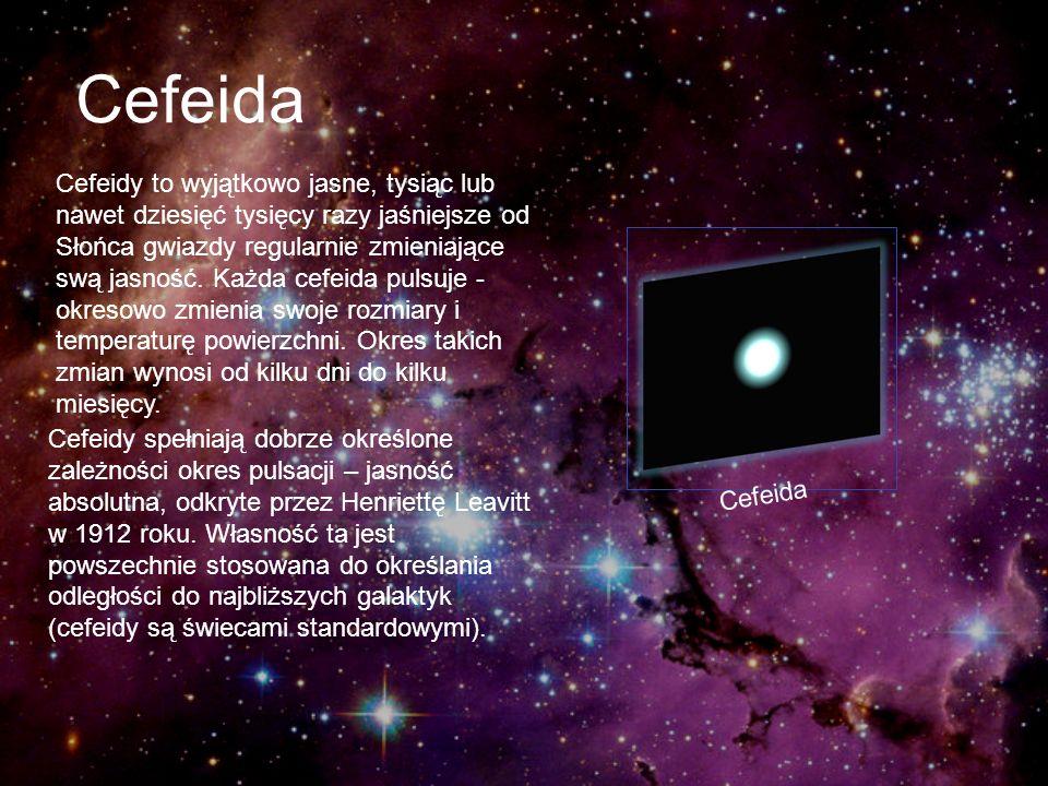 Cefeida Cefeidy to wyjątkowo jasne, tysiąc lub nawet dziesięć tysięcy razy jaśniejsze od Słońca gwiazdy regularnie zmieniające swą jasność. Każda cefe