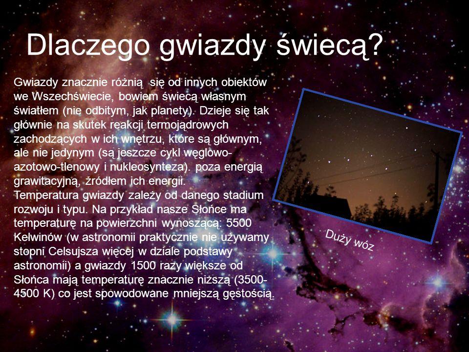 Dlaczego gwiazdy świecą? Gwiazdy znacznie różnią się od innych obiektów we Wszechświecie, bowiem świecą własnym światłem (nie odbitym, jak planety). D