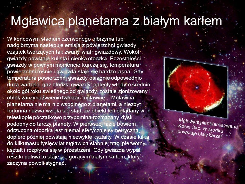 Mgławica planetarna z białym karłem W końcowym stadium czerwonego olbrzyma lub nadolbrzyma następuje emisja z powierzchni gwiazdy cząstek tworzących t