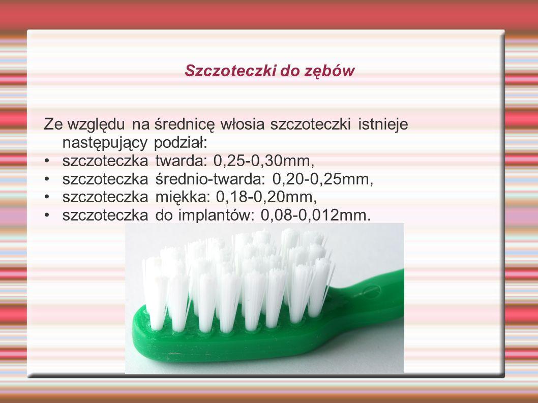 Szczoteczki do zębów Ze względu na średnicę włosia szczoteczki istnieje następujący podział: szczoteczka twarda: 0,25-0,30mm, szczoteczka średnio-twar