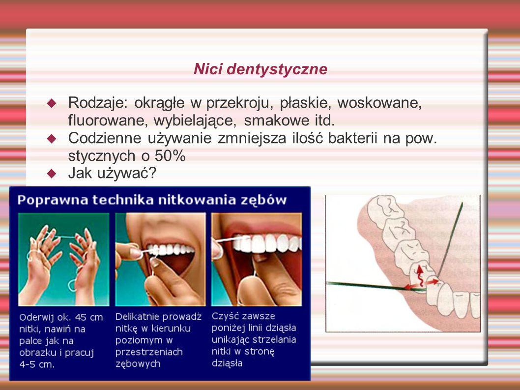 Nici dentystyczne Rodzaje: okrągłe w przekroju, płaskie, woskowane, fluorowane, wybielające, smakowe itd. Codzienne używanie zmniejsza ilość bakterii