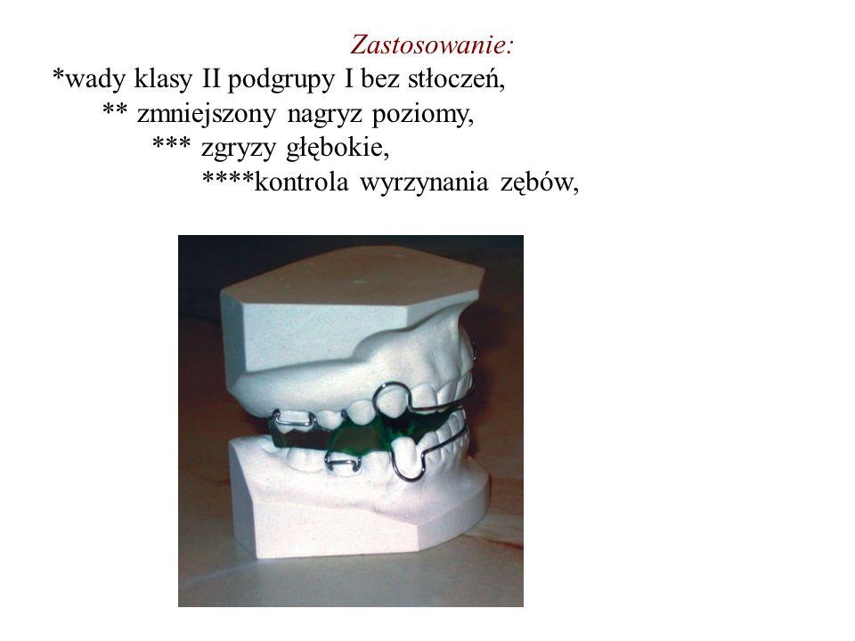 Zastosowanie: *wady klasy II podgrupy I bez stłoczeń, ** zmniejszony nagryz poziomy, *** zgryzy głębokie, ****kontrola wyrzynania zębów,