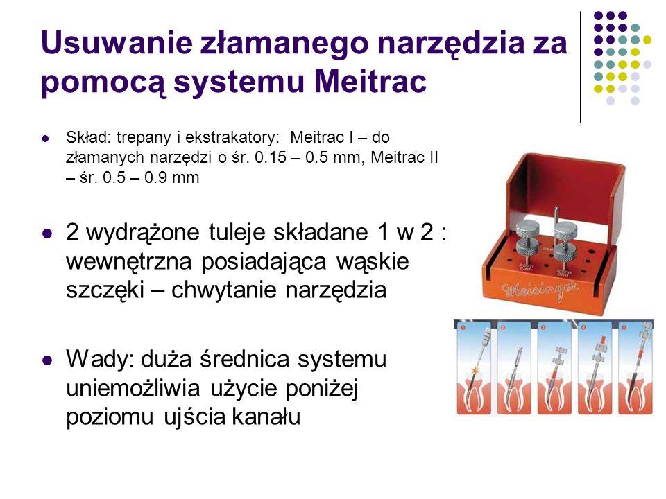 Usuwanie złamanego narzędzia za pomocą systemu Meitrac Skład: trepany i ekstrakatory: Meitrac I – do złamanych narzędzi o śr. 0.15 – 0.5 mm, Meitrac I