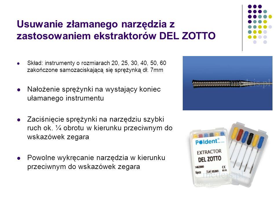 Usuwanie złamanego narzędzia z zastosowaniem ekstraktorów DEL ZOTTO Skład: instrumenty o rozmiarach 20, 25, 30, 40, 50, 60 zakończone samozaciskającą