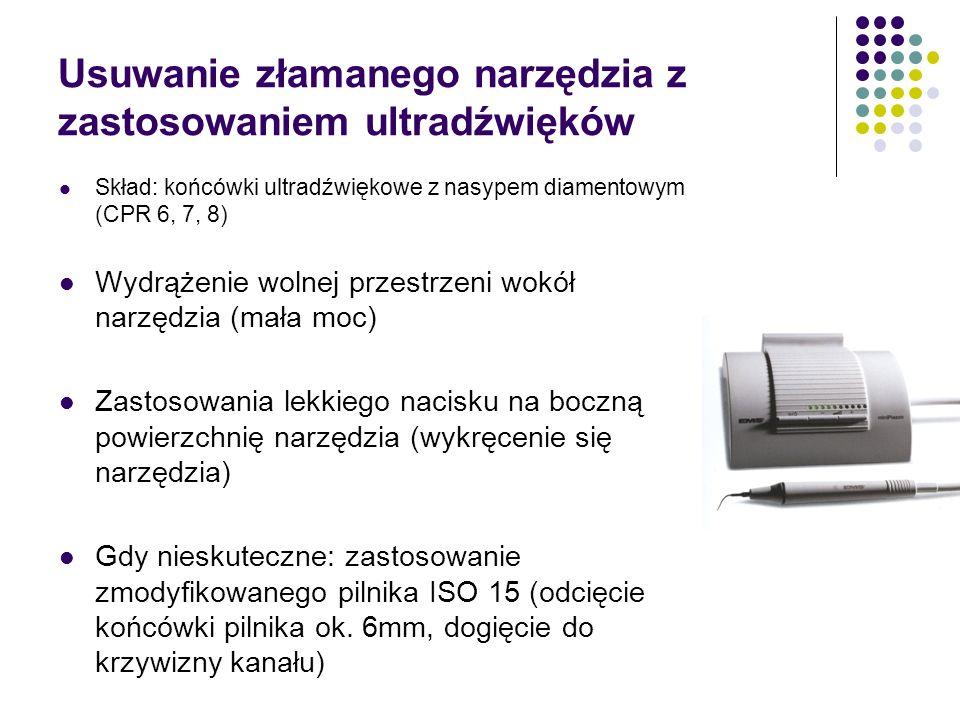 Usuwanie złamanego narzędzia z zastosowaniem ultradźwięków Skład: końcówki ultradźwiękowe z nasypem diamentowym (CPR 6, 7, 8) Wydrążenie wolnej przest