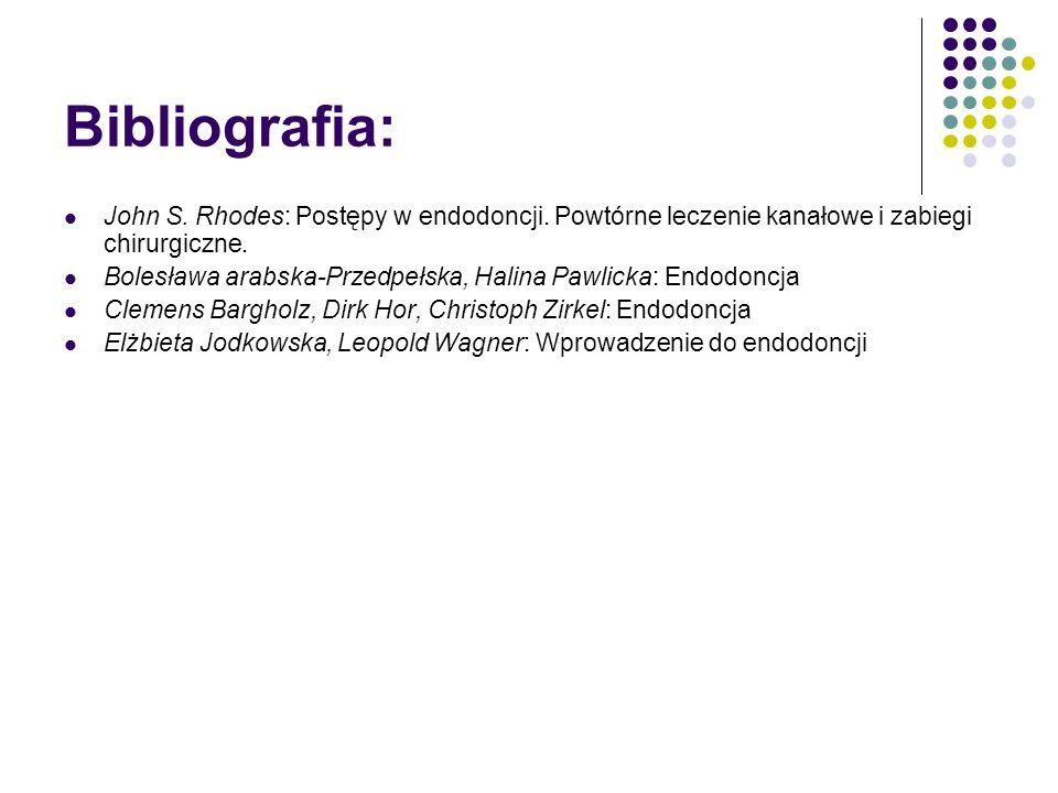 Bibliografia: John S. Rhodes: Postępy w endodoncji. Powtórne leczenie kanałowe i zabiegi chirurgiczne. Bolesława arabska-Przedpełska, Halina Pawlicka: