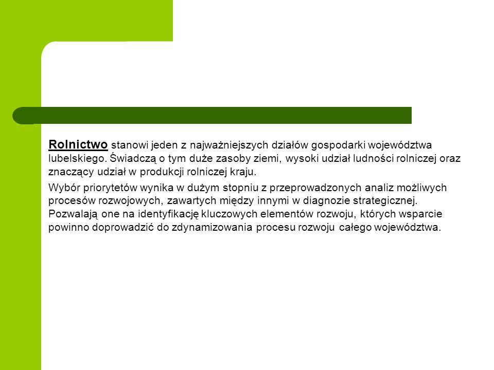 Rolnictwo stanowi jeden z najważniejszych działów gospodarki województwa lubelskiego. Świadczą o tym duże zasoby ziemi, wysoki udział ludności rolnicz