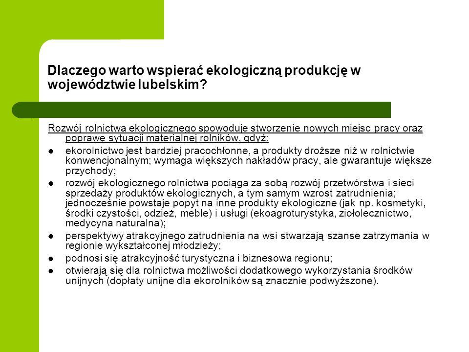 Dlaczego warto wspierać ekologiczną produkcję w województwie lubelskim? Rozwój rolnictwa ekologicznego spowoduje stworzenie nowych miejsc pracy oraz p