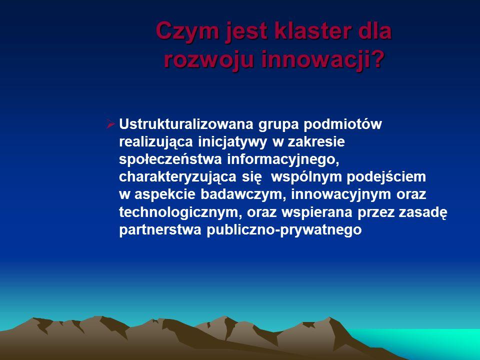 Czym jest klaster dla rozwoju innowacji? Ustrukturalizowana grupa podmiotów realizująca inicjatywy w zakresie społeczeństwa informacyjnego, charaktery