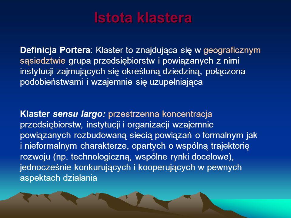 Istota klastera Definicja Portera: Klaster to znajdująca się w geograficznym sąsiedztwie grupa przedsiębiorstw i powiązanych z nimi instytucji zajmują
