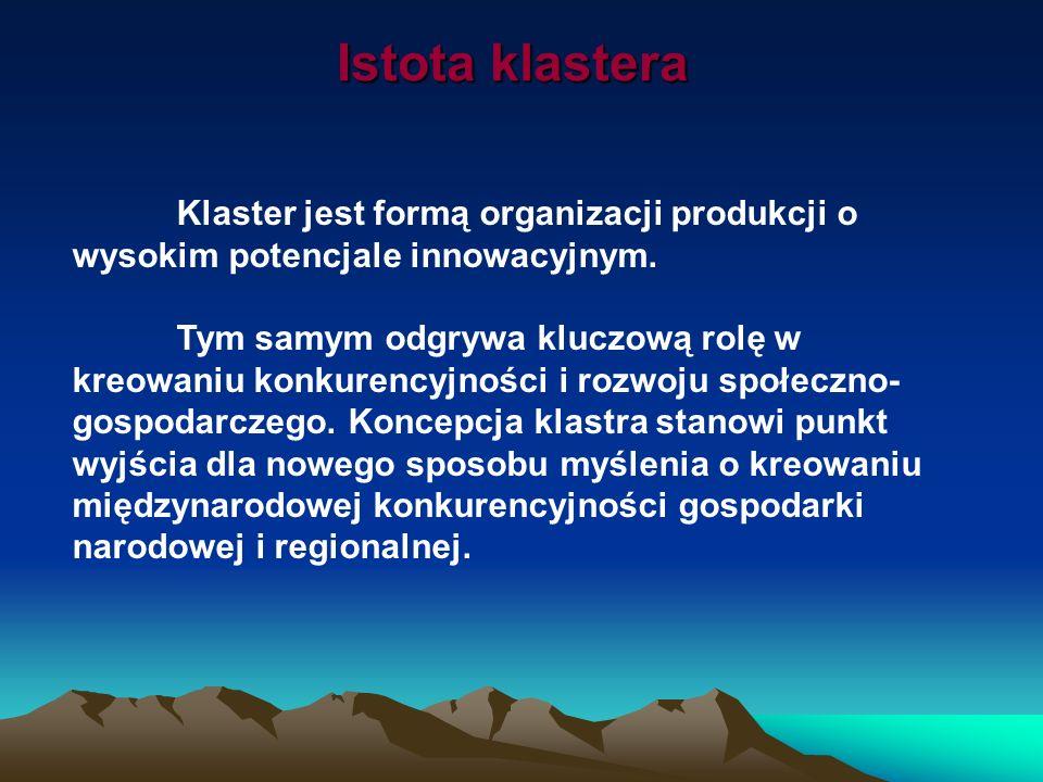 Istota klastera Klaster jest formą organizacji produkcji o wysokim potencjale innowacyjnym. Tym samym odgrywa kluczową rolę w kreowaniu konkurencyjnoś