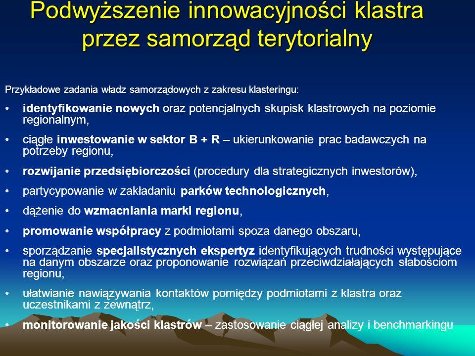 Podwyższenie innowacyjności klastra przez samorząd terytorialny Przykładowe zadania władz samorządowych z zakresu klasteringu: identyfikowanie nowych