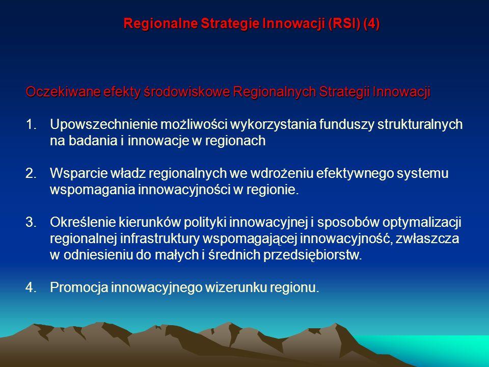 Oczekiwane efekty środowiskowe Regionalnych Strategii Innowacji 1.Upowszechnienie możliwości wykorzystania funduszy strukturalnych na badania i innowa