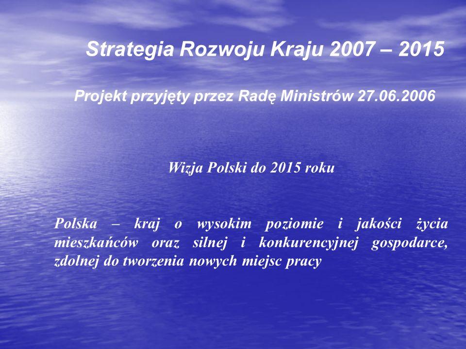 Strategia Rozwoju Kraju 2007 – 2015 Projekt przyjęty przez Radę Ministrów 27.06.2006 Wizja Polski do 2015 roku Polska – kraj o wysokim poziomie i jako