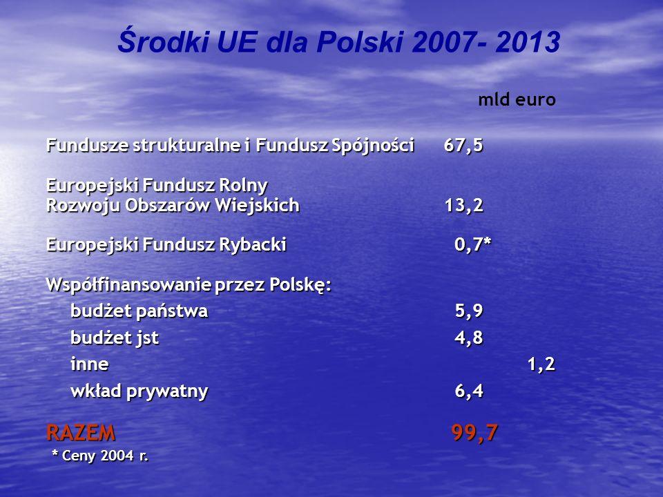 Środki UE dla Polski 2007- 2013 Fundusze strukturalne i Fundusz Spójności 67,5 Europejski Fundusz Rolny Rozwoju Obszarów Wiejskich 13,2 Europejski Fun