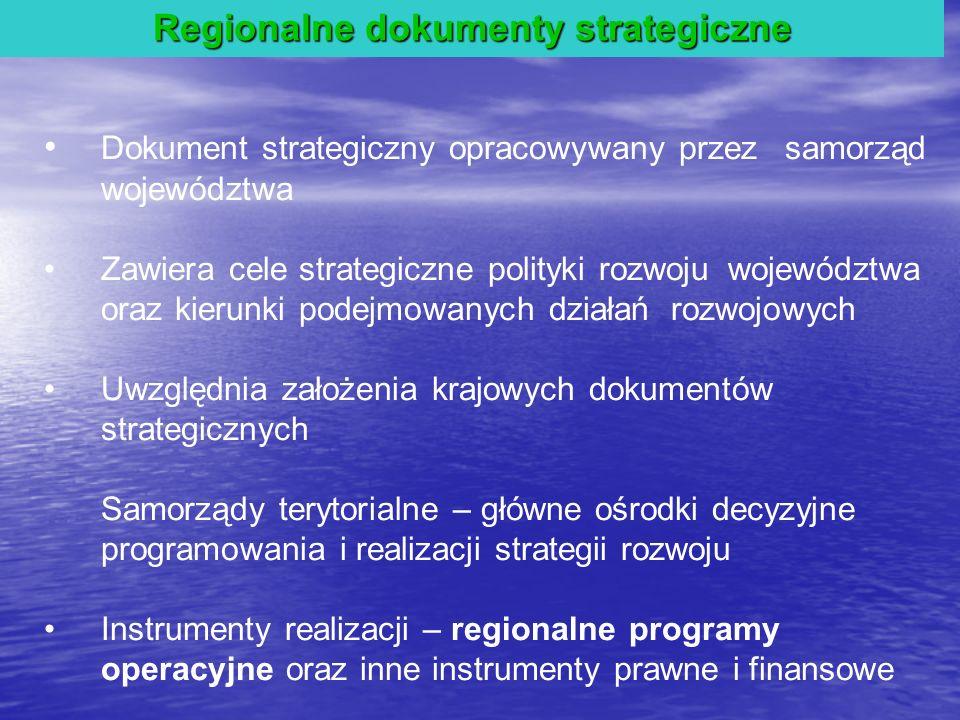 Regionalne dokumenty strategiczne Dokument strategiczny opracowywany przez samorząd województwa Zawiera cele strategiczne polityki rozwoju województwa