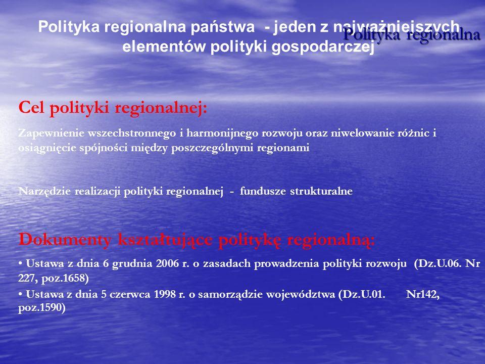 Polityka regionalna państwa - jeden z najważniejszych elementów polityki gospodarczej Cel polityki regionalnej: Zapewnienie wszechstronnego i harmonij