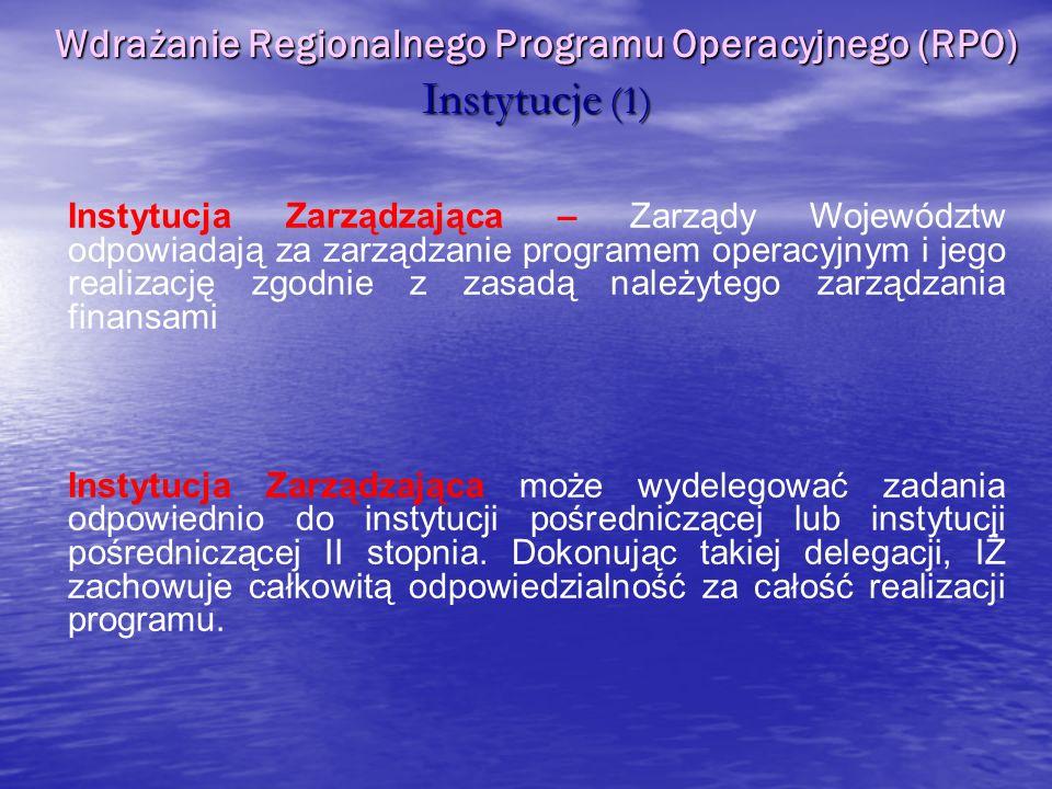 Instytucja Zarządzająca – Zarządy Województw odpowiadają za zarządzanie programem operacyjnym i jego realizację zgodnie z zasadą należytego zarządzani