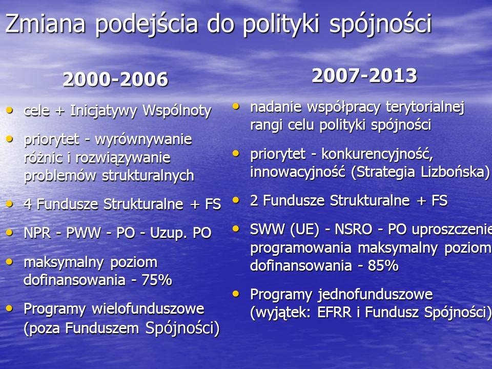 Zmiana podejścia do polityki spójności 2000-2006 cele + Inicjatywy Wspólnoty cele + Inicjatywy Wspólnoty priorytet - wyrównywanie różnic i rozwiązywan
