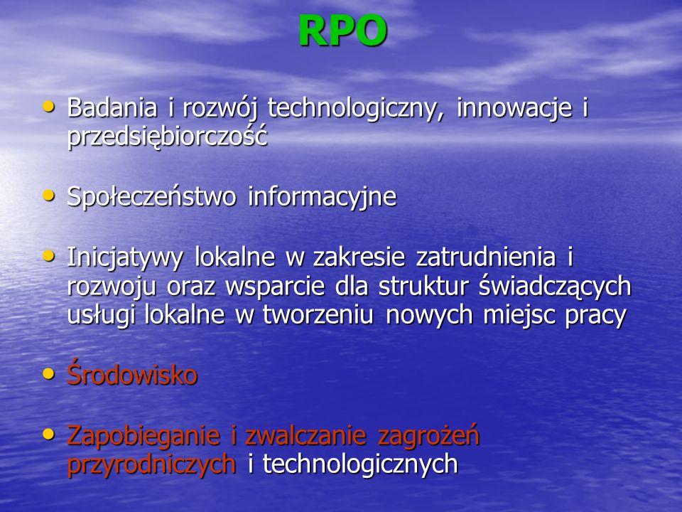 RPO Badania i rozwój technologiczny, innowacje i przedsiębiorczość Badania i rozwój technologiczny, innowacje i przedsiębiorczość Społeczeństwo inform