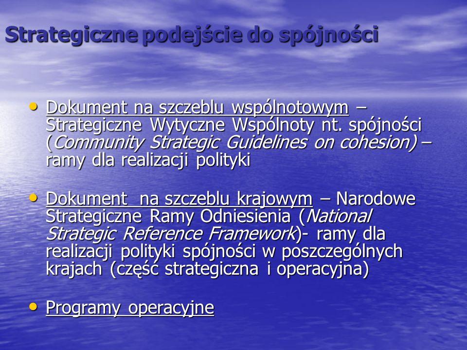 Zintegrowany Pakiet Wytycznych Rada Europejska Komisja Europejska Krajowy Program Reform Strategiczne Wytyczne Wspólnoty (SWW) Narodowa Strategia Spójności (NSRO) Strategiczne Wytyczne UE dla Polityki Rozwoju Obszarów Wiejskich Narodowa Strategia Rozwoju Obszarów Wiejskich Narodowy Plan Strategiczny dla Rybołówstwa Polityka SpójnościWspólna Polityka Rolna Wspólna Polityka Rybacka Rzeczpospolita Polska Strategia Rozwoju Kraju 2007-2015 16 Regionalnych Programów Op4eracyjnych PO Rozwój Polski Wschodniej PO Europejskiej Współpracy Terytorialnej PO Infrastruktura i środowisko PO Kapitał ludzki PO Innowacyjna gospodarka PO Pomoc Techniczna PO Rozwój Obszarów Wiejskich PO Rybołówstwo i obszary przybrzeżne