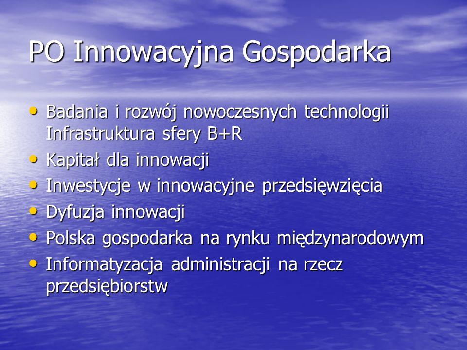 PO Innowacyjna Gospodarka Badania i rozwój nowoczesnych technologii Infrastruktura sfery B+R Badania i rozwój nowoczesnych technologii Infrastruktura