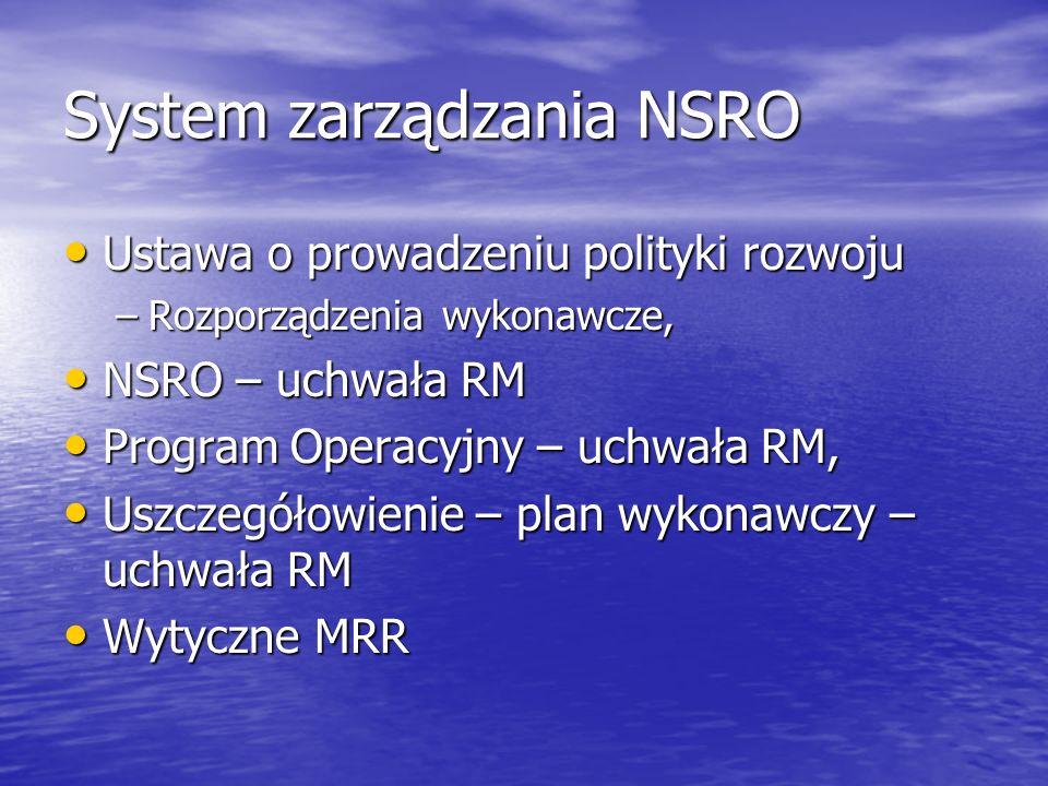 System zarządzania NSRO Ustawa o prowadzeniu polityki rozwoju Ustawa o prowadzeniu polityki rozwoju –Rozporządzenia wykonawcze, NSRO – uchwała RM NSRO