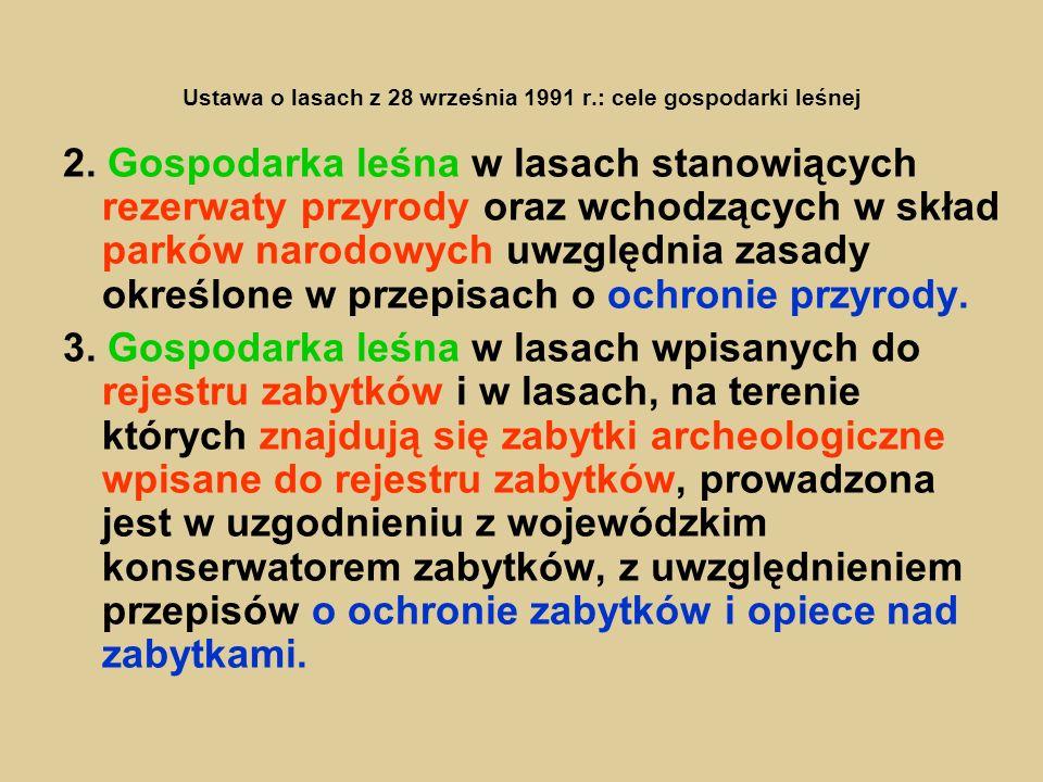 Ustawa o lasach z 28 września 1991 r.: cele gospodarki leśnej 2. Gospodarka leśna w lasach stanowiących rezerwaty przyrody oraz wchodzących w skład pa