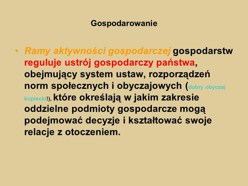 Gospodarowanie … Reguły gry gospodarczej tworzy świat polityki!!.