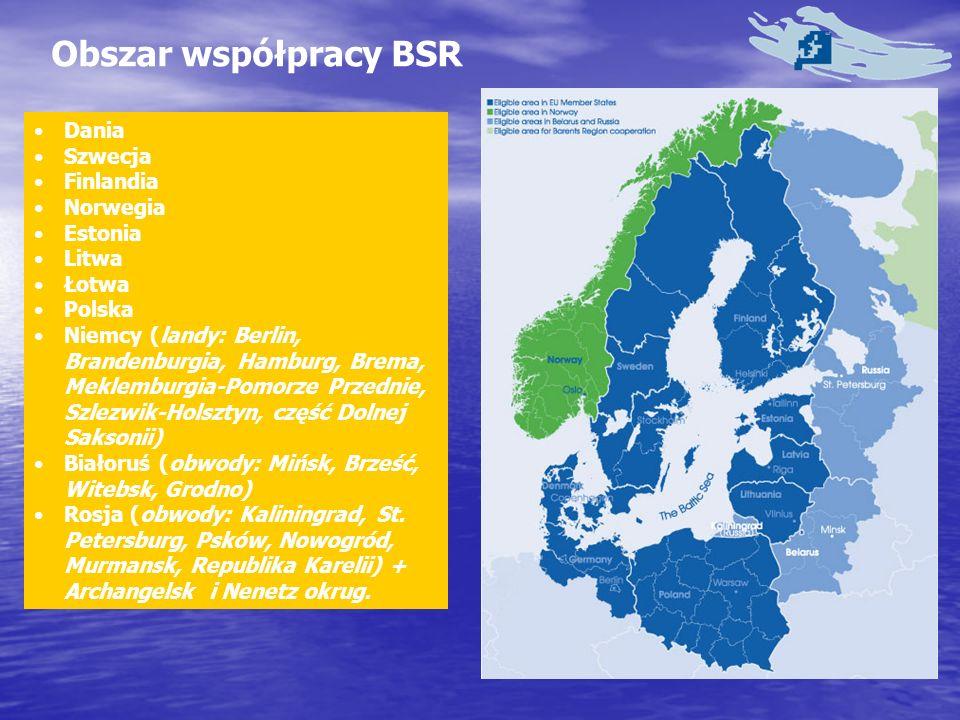 Obszar współpracy BSR Dania Szwecja Finlandia Norwegia Estonia Litwa Łotwa Polska Niemcy (landy: Berlin, Brandenburgia, Hamburg, Brema, Meklemburgia-Pomorze Przednie, Szlezwik-Holsztyn, część Dolnej Saksonii) Białoruś (obwody: Mińsk, Brześć, Witebsk, Grodno) Rosja (obwody: Kaliningrad, St.