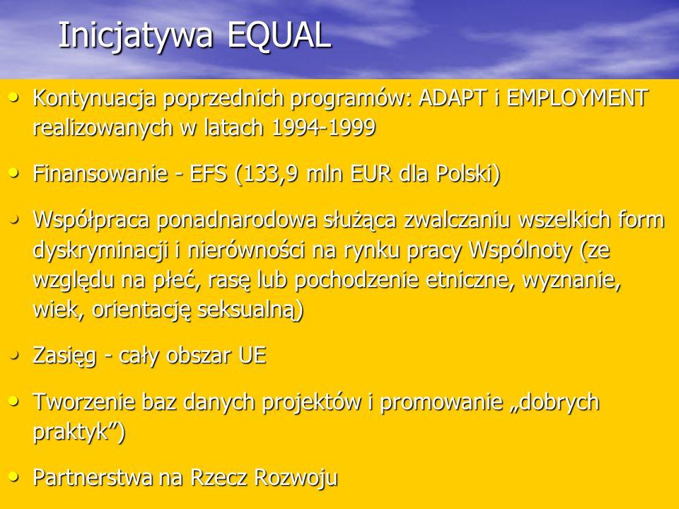 Inicjatywa EQUAL Kontynuacja poprzednich programów: ADAPT i EMPLOYMENT realizowanych w latach 1994-1999 Kontynuacja poprzednich programów: ADAPT i EMPLOYMENT realizowanych w latach 1994-1999 Finansowanie - EFS (133,9 mln EUR dla Polski) Finansowanie - EFS (133,9 mln EUR dla Polski) Współpraca ponadnarodowa służąca zwalczaniu wszelkich form dyskryminacji i nierówności na rynku pracy Wspólnoty (ze względu na płeć, rasę lub pochodzenie etniczne, wyznanie, wiek, orientację seksualną) Współpraca ponadnarodowa służąca zwalczaniu wszelkich form dyskryminacji i nierówności na rynku pracy Wspólnoty (ze względu na płeć, rasę lub pochodzenie etniczne, wyznanie, wiek, orientację seksualną) Zasięg - cały obszar UE Zasięg - cały obszar UE Tworzenie baz danych projektów i promowanie dobrych praktyk) Tworzenie baz danych projektów i promowanie dobrych praktyk) Partnerstwa na Rzecz Rozwoju Partnerstwa na Rzecz Rozwoju
