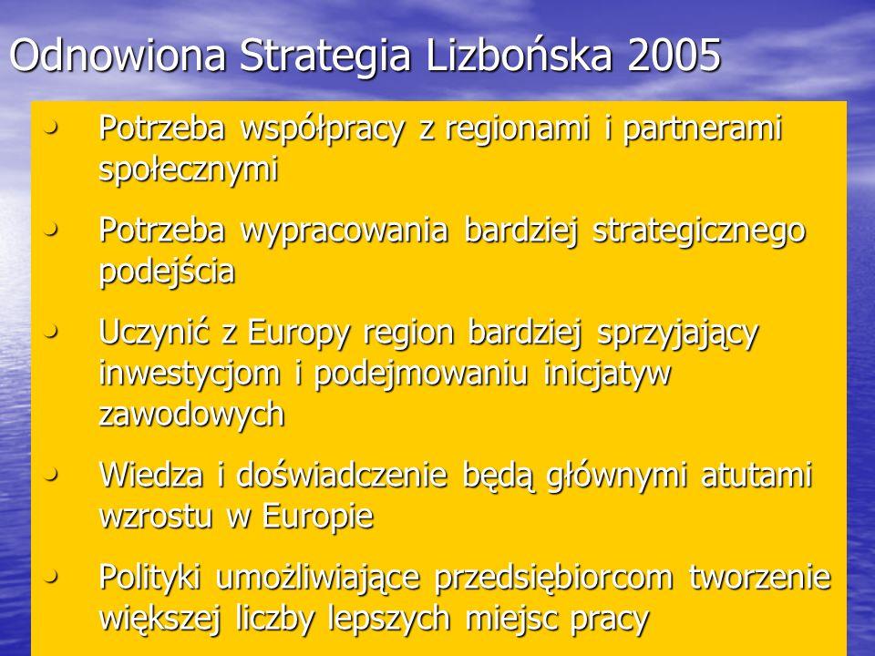 Odnowiona Strategia Lizbońska 2005 Potrzeba współpracy z regionami i partnerami społecznymi Potrzeba współpracy z regionami i partnerami społecznymi Potrzeba wypracowania bardziej strategicznego podejścia Potrzeba wypracowania bardziej strategicznego podejścia Uczynić z Europy region bardziej sprzyjający inwestycjom i podejmowaniu inicjatyw zawodowych Uczynić z Europy region bardziej sprzyjający inwestycjom i podejmowaniu inicjatyw zawodowych Wiedza i doświadczenie będą głównymi atutami wzrostu w Europie Wiedza i doświadczenie będą głównymi atutami wzrostu w Europie Polityki umożliwiające przedsiębiorcom tworzenie większej liczby lepszych miejsc pracy Polityki umożliwiające przedsiębiorcom tworzenie większej liczby lepszych miejsc pracy