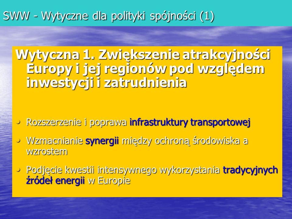 SWW - Wytyczne dla polityki spójności (1) Wytyczna 1.