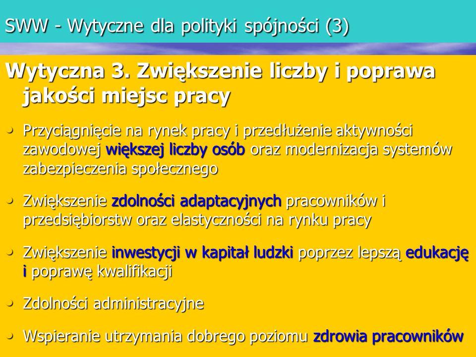 SWW - Wytyczne dla polityki spójności (3) Wytyczna 3.