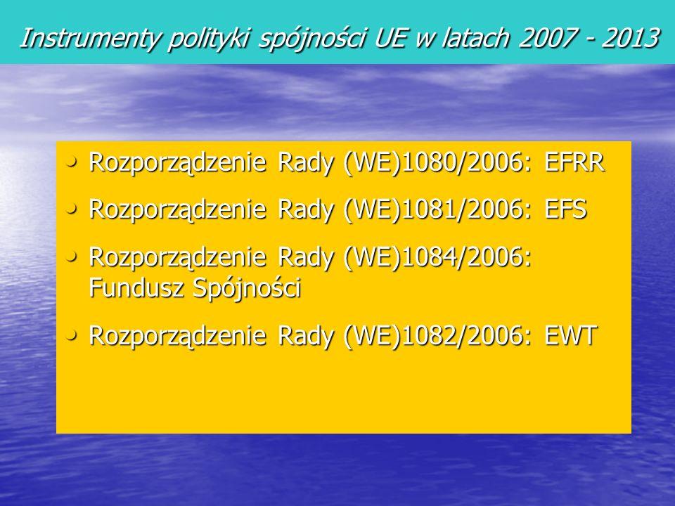 Rozporządzenie Rady (WE)1080/2006: EFRR Rozporządzenie Rady (WE)1080/2006: EFRR Rozporządzenie Rady (WE)1081/2006: EFS Rozporządzenie Rady (WE)1081/2006: EFS Rozporządzenie Rady (WE)1084/2006: Fundusz Spójności Rozporządzenie Rady (WE)1084/2006: Fundusz Spójności Rozporządzenie Rady (WE)1082/2006: EWT Rozporządzenie Rady (WE)1082/2006: EWT Fundusze strukturalne Instrumenty polityki spójności UE w latach 2007 - 2013