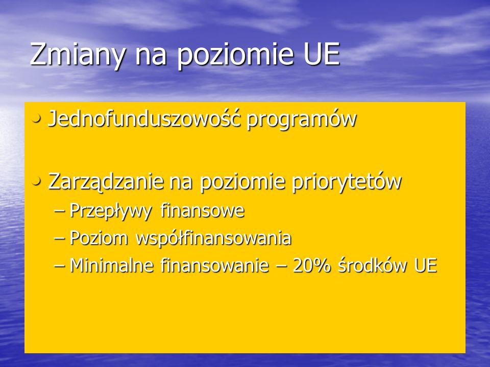 Zmiany na poziomie UE Jednofunduszowość programów Jednofunduszowość programów Zarządzanie na poziomie priorytetów Zarządzanie na poziomie priorytetów –Przepływy finansowe –Poziom współfinansowania –Minimalne finansowanie – 20% środków UE