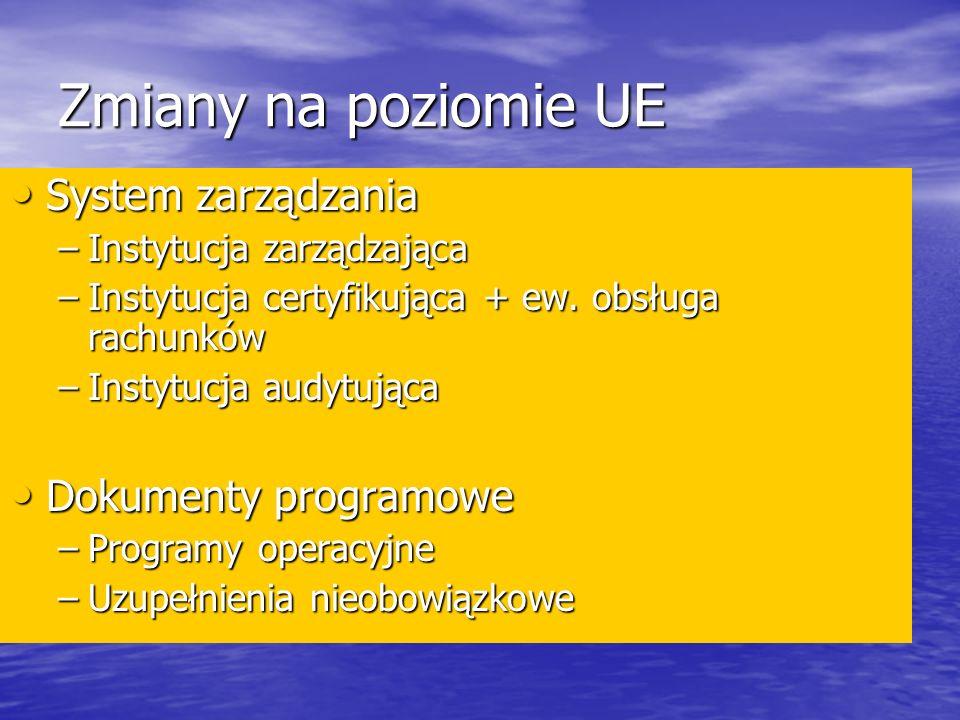 Zmiany na poziomie UE System zarządzania System zarządzania –Instytucja zarządzająca –Instytucja certyfikująca + ew.